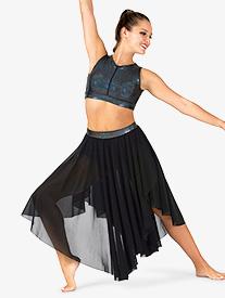 Womens Iridescent Waistband Performance Asymmetrical Skirt