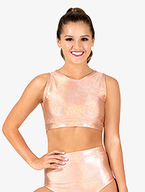 Womens Iridescent High Neck Performance Tank Crop Top