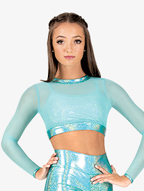 Womens Mesh Iridescent Performance Long Sleeve Crop Top