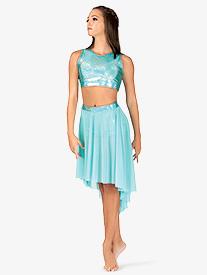 Womens Iridescent Waistband Performance High-Low Skirt