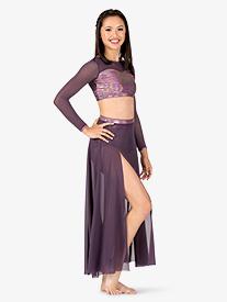 Womens Iridescent Performance Long Mesh Skirt