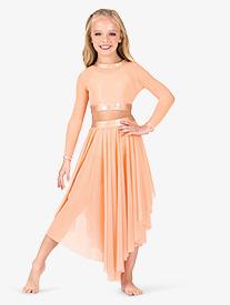 Girls Iridescent Waistband Performance Asymmetrical Skirt