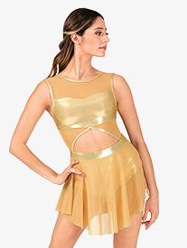 Womens Performance Metallic Mesh Cutout Tank Dress