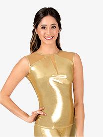 Womens Performance Metallic Mesh Back Cut Out Cap Sleeve Top