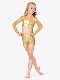 Girls Performance Metallic High Waist Shorts