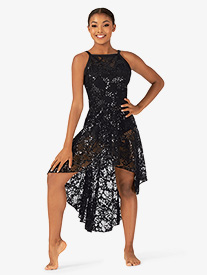 Womens Performance Sequin Lace Camisole Dress