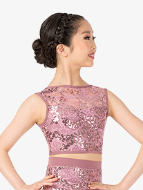 Girls Performance Sequin Lace Tank Crop Top