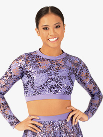 Womens Performance Sequin Lace Long Sleeve Crop Top