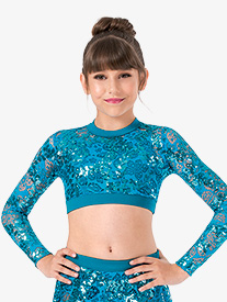 Girls Performance Sequin Lace Long Sleeve Crop Top