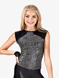 Girls Sequin Mesh Short Sleeve Top
