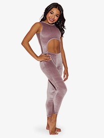 Womens All Zipped Up Cutout Tank Dance Unitard