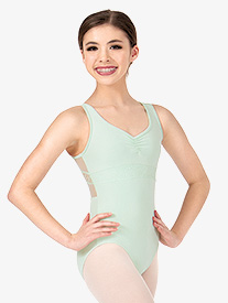 Girls Mesh Back Lace Tank Leotard