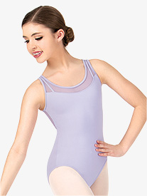 Girls Circle Cutout Mesh Tank Leotard