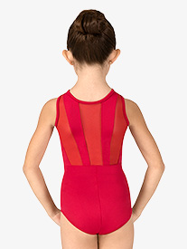 Girls Striped Mesh Back Tank Leotard