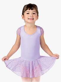 Girls Lace Short Sleeve Ballet Dress