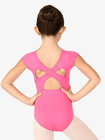 Girls Crisscross Back Short Sleeve Leotard