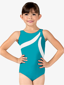 Girls Color Block Rhinestone Tank Leotard