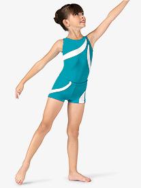 Girls Contrast Striped Gymnastics Shorts