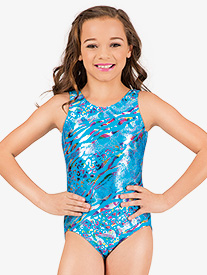 Girls Gymnastic Metallic Leopard Keyhole Back Tank Leotard