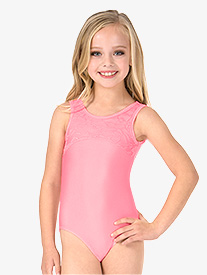 Girls Heart Cutout Back Lace Tank Leotard