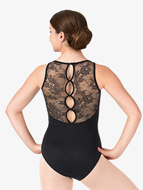 Womens Buttoned Lace Back Tank Leotard