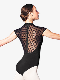 Womens Diamond Flock Mesh Cap Sleeve Leotard