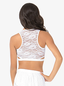 Adult Lace Back Tank Dance Crop Top