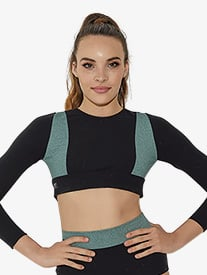 Girls Two-Tone Heather Long Sleeve Dance Crop Top