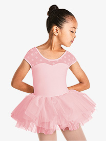 Girls Polka Dot Mesh Short Sleeve Tutu Dress