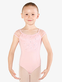 Girls Diamante Flower Mesh Short Sleeve Leotard