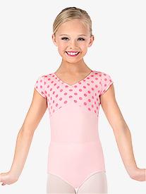 Girls Polka Dot Pinched Front Short Sleeve Leotard