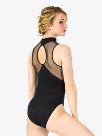 Womens Mesh Keyhole Back Tank Leotard