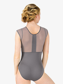 Womens Mesh Back Short Sleeve Leotard