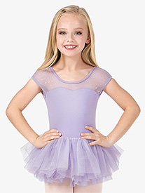 Girls Hologram Sequin Short Sleeve Ballet Tutu Dress