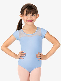 Girls Hologram Sequin Keyhole Back Short Sleeve Leotard
