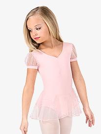 Girls Glitter Mesh Short Sleeve Ballet Dress