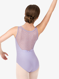 Girls Hologram Sequin Mesh Back Tank Leotard
