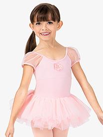 Girls Sequin Flower Puff Short Sleeve Ballet Tutu Dress