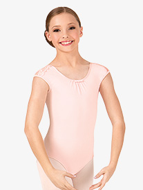Girls Scalloped Lace Shoulder Short Sleeve Leotard