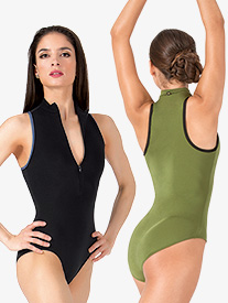 Misha High Neck Zip Front Tank Leotard