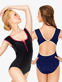 Danica Zip Front Cap Sleeve Leotard
