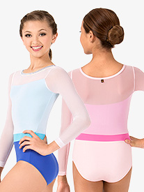 Girls Zara Mesh Overlay Long Sleeve Leotard