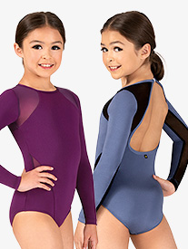 Girls Thea Mesh Insert Long Sleeve Leotard
