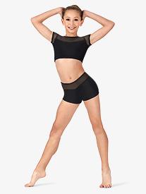 Girls Mesh Waistband Dance Shorts