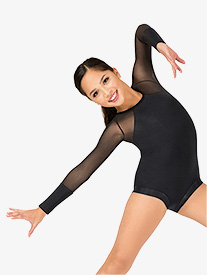 Girls Klara Mesh Long Sleeve Banded Leg Leotard