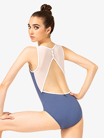 Womens Liliya Three-Tone Snap Back Tank Leotard