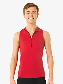 Mens Iliya Sleeveless Collared Zip Front Dance Top