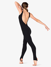 Womens Sueded Cotton Deep V-Back Stirrup Dance Unitard