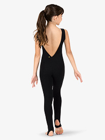 Girls Sueded Cotton Deep V-Back Stirrup Dance Unitard