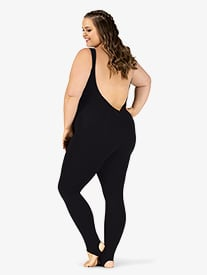 Womens Plus Size Sueded Cotton Deep V-Back Stirrup Dance Unitard